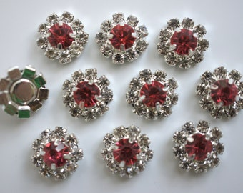 Set of 2- 12mm Hot Pink Flat Back Rhinestone Buttons - Rhinestone Buttons - Flower Centers - Mini Rhinestone Buttons Metal Rhinestone Button