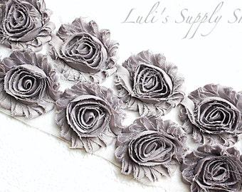 Grey Shabby Chiffon Rose Trim - Shabby Chiffon Rosettes - Solid Shabby Trim - Shabby Chiffon Flowers 1/2 Yard or 1 Yard