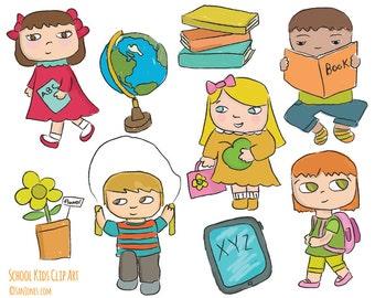 School Kids clip art - Hand drawn Teacher clip art - Kids at School Clip Art - Digi Stamps