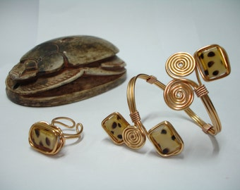 Copper Tone Wire and Cristal Beads Bracelet and Ring Combination