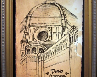 Florence il Duomo - Florence Cathedral Dome - Firenze - Print of Original Travel Sketch on Tea Stained Rives BFK Paper- dog art - dog gifts