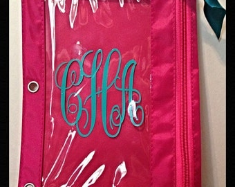 SALE***Monogrammed/Personalized Pencil Pouch/ Binder - Back to School