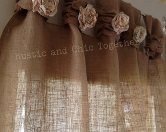 Burlap Curtains- Tea dyed rosettes- Wide Tabs