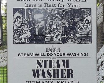 Woman's Friend Steam Washer Laundry Room Advertisement