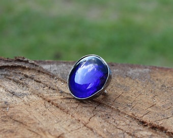 Blue ring, Round dark navy blue glass ring, statement ring, something blue, winter, Engagement ring, coctail ring, adjustable ring