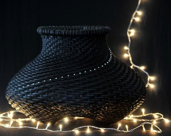 "Black basket,woven with svarovsky crystals, ""path of light"" - medium size"