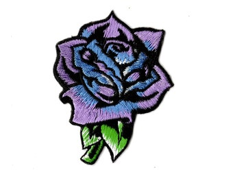 Lavender Purple Rose Embroidered Iron On Patch