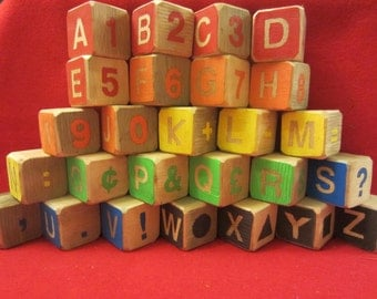 Cedar alphabet blocks