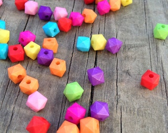 200 Colorful Geometric Acrylic Beads, Beads, Geometric Beads, Neon Geometric Beads7mm x 8mm x 8mm, 2mm Hole