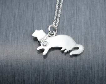 A rare design Ferret handcrafted sterling silver girl,woman jewellery
