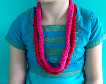Two Red and Pink Shimmer Yarn Necklaces Small