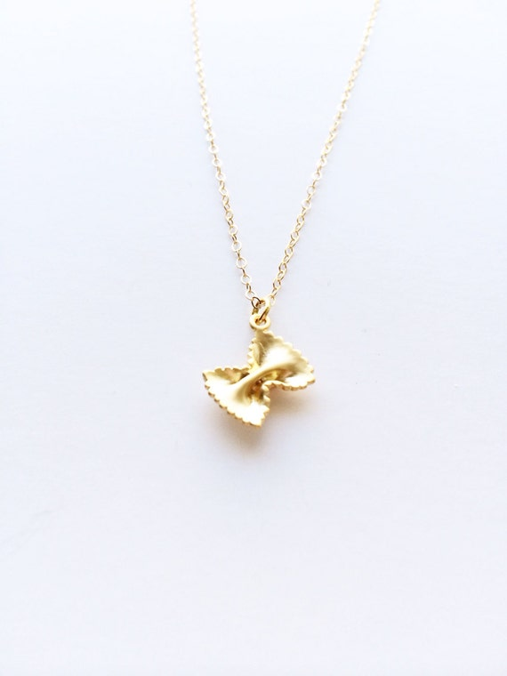 "Tiny Gold Farfelle Pasta Pendant Necklace on Delicate 14-16"" Gold Filled Chain - Gift for Her, Valentine, Just Because"