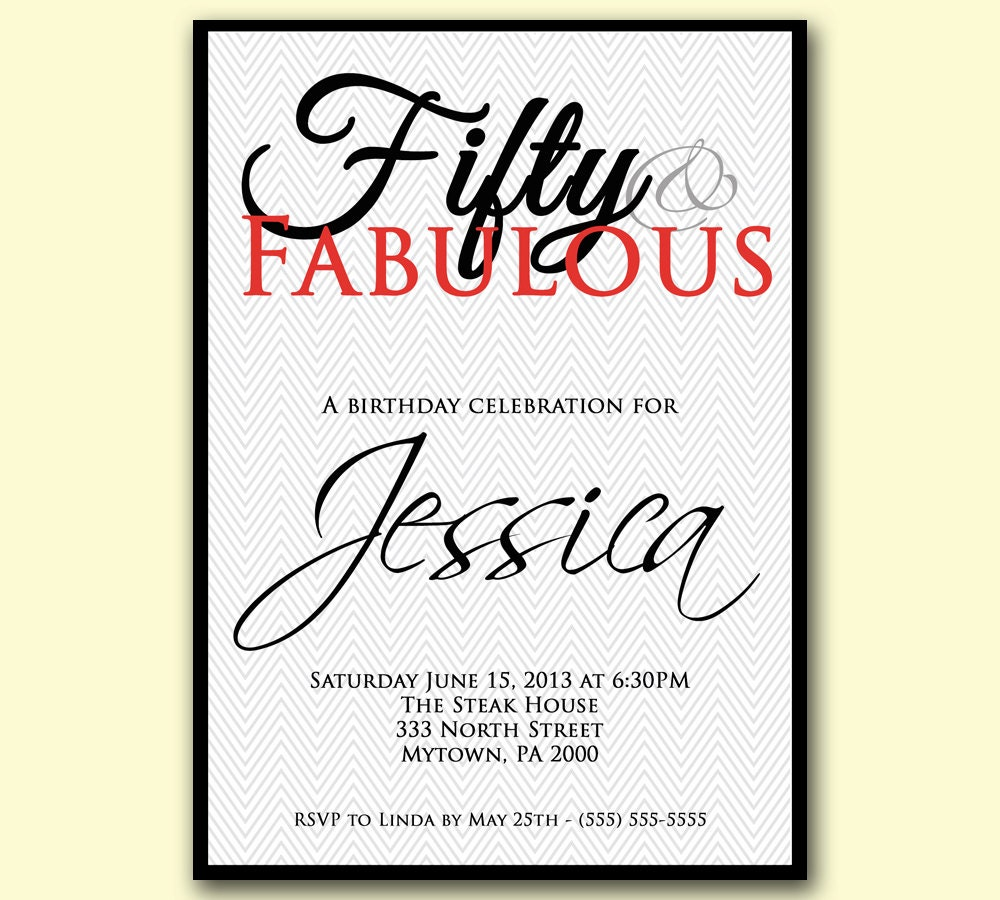 Fabulous 50th Birthday Party Invitations