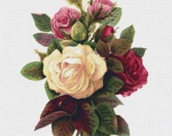 Bouquet of Roses PDF Cross Stitch Pattern