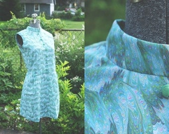 vintage 1960s handmade turquoise patterned mod shift dress (medium)