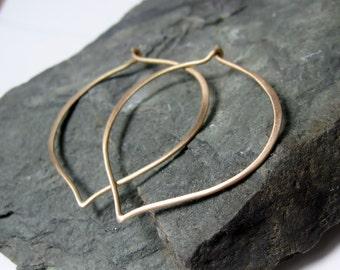 14K Gold Large Hoop Earrings, lotus ear wires, Made to Order