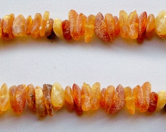 """SALE! Baltic Amber Beads. Natural amber Chips. Loose amber beads. Unpolished. Full 16"""" strand."""