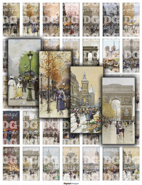 vintage watercolor paris 1x2 domino digital collage sheet jewelry cards tags scrapbook. Black Bedroom Furniture Sets. Home Design Ideas
