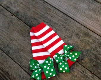Christmas stripe leg warmers, baby leg warmers, newborn leg warmers, red and white stripe, baby leg warmers, newborn leg warmers