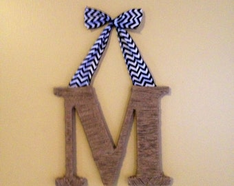 A-Z Wood letter personalized hanging with ribbon bow