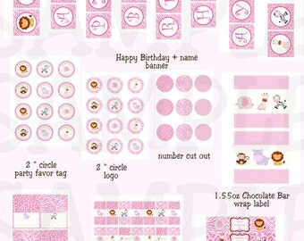 Pink Jungle party package - Safari printable party package - pink jungle birthday - Girl safari pink printable - SUPER DEAL!