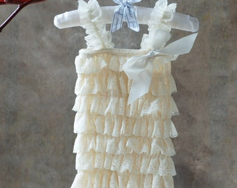Ivory Petti Romper - Baby Girl Clothing - Photography Prop - Baby Headband - Lace Romper