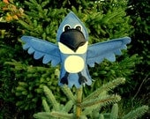 Hand Puppet Blue Kingfisher Bird Tree Topper Educational Kids Toy Eco Friendly Child Gift Animal Birthday Woodland Decor Blue Jay