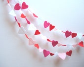 """Valentine HEARTS Anniversary Heart Mini Garland Pink Magenta Red White Wall Decor Earth Friendly 27"""" Party Supply Wedding Love Bunting"""