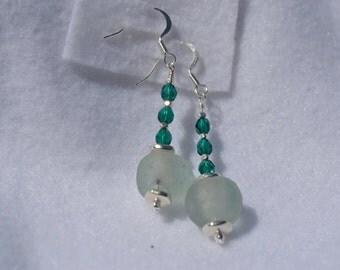 Sea Glass, Metal and Firepolished Czech Beads- Dangle Earrings