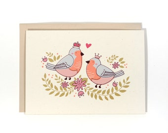 Love/Anniversary Card - Birds with Crowns