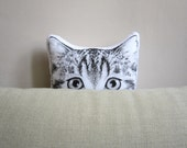 cat pillow for crazy cat lady black and white tabby cat head hand painted cushion gift idea
