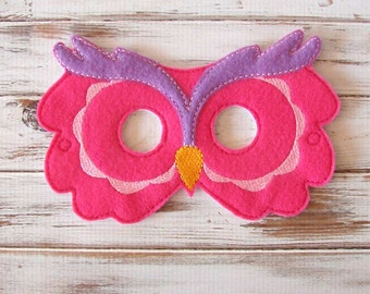 Owl Mask - Dress Up - Kids, Animal Mask, Halloween, Costume - Pretend Play - Hot Pink - Purple