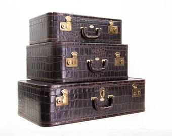 American Burgundy Brown Leather Simulated Alligator Suitcase by the Maximillian Co. New York, NY
