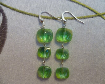 peridot multifaceted glass bead dangles