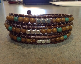 Brown Leather Wrap with turquoise , jasper,and silver beads