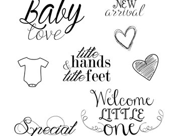 INSTANT DOWNLOAD Newborn Baby Word Art Overlays for Photography, Digital Scrapbooking, Card Making, Printing and Much More!
