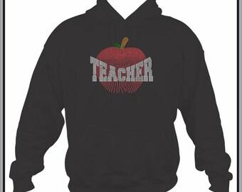 Teacher Sweatshirt/ Teacher Hoodie/ Rhinestone Teacher/ Fading Faded Apple Teacher Hoodie Sweatshirt/ Teacher Gift