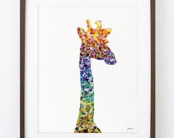 Art Watercolor Painting - Giraffe Art, Geometric Art 8x10 Reproduction Print - Giraffe Painting - Colorful Art Wall Decor Housewares, Gifts