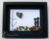 Unique Engagement Gift- Pebble Art Couple Design with Water Feature - Personalized Couple's Gift -  Pebble Art - COUPLE'S GIFT