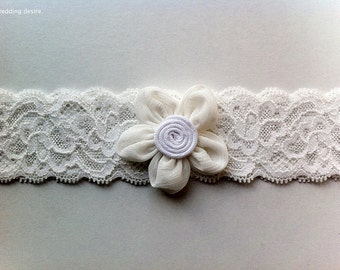 Inspired by Vintage | IVORY Bridal Garter | Beautiful Stretch Lace | Vintage Inspired Flower Feature