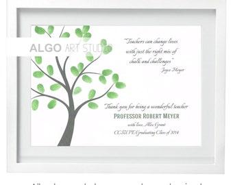 Gifts for Teachers, Teacher Gift, Teacher Thank You, Custom Teacher Print, Teacher Appreciation, Teacher Fingerprint Tree