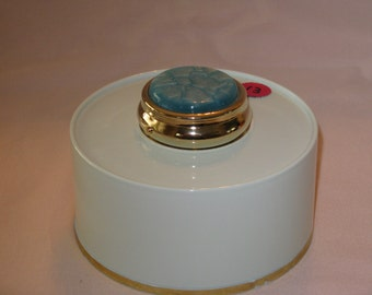 Mini Pill Box with 3 sections (Light Blue Acrylic Inlay)gold finish