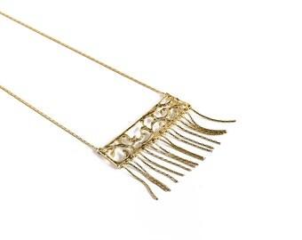 Arabesque Pattern Pendant ,18K Gold coated Brass Necklaces , Filigree Necklace.