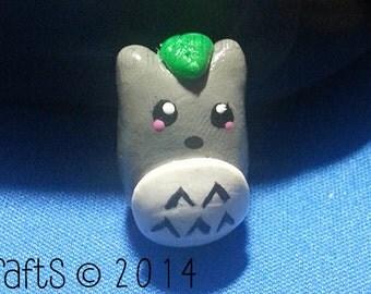 Mini Totoro with Leaf  Polymer Clay Charm