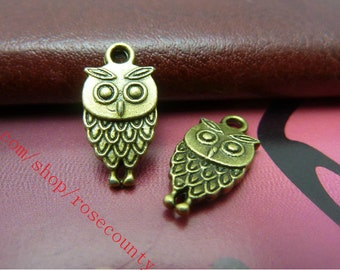 100pcs 18x9mm antiqued bronze owl charms findings connectors--perfect for making bracelets