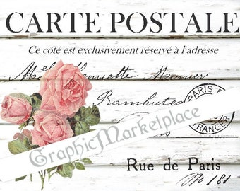 Carte Postale Rose French Postcard Instant Download Transfer Fabric Linen digital collage sheet graphic printable No. 360