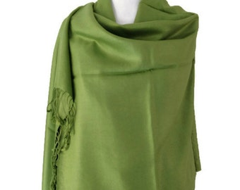 Lime Green Pashmina , Green Scarf , Wrap Shawl , Large Scarf , Fair Trade Scarf