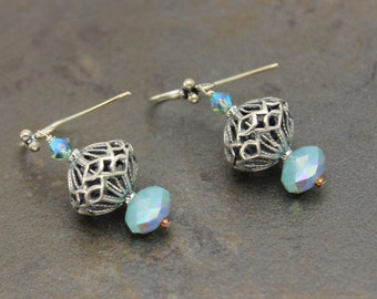 08 - Sterling Silver, Filigree, Pacific Blue Opal Swarovski, Dangle Earrings, One of a Kind, OOAK