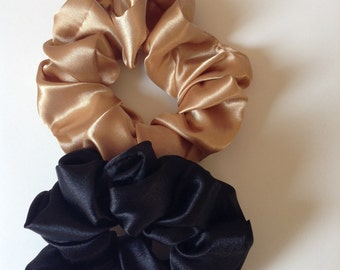 Set of two satin women's hair scrunchies/ponytail holder/ hair bun holder