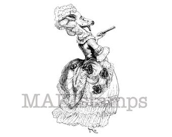 Animal rubber stamp / Marquise de Pompadour as a goat / Unmounted rubber stamp (130407)